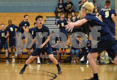 060617 Wesley Bunnell | Staff  Newington boys volleyball defeated Joel Barlow at Kennedy High School in Waterbury in a semi final game to advance to the championship game to be played on June 8. Vinh Dau (5) reacts to the winning point.