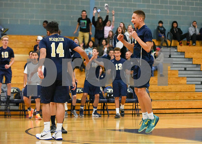 060617 Wesley Bunnell | Staff  Newington boys volleyball defeated Joel Barlow at Kennedy High School in Waterbury in a semi final game to advance to the championship game to be played on June 8. Andres Ithier-Vicenty (9), right.