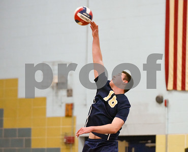 060617 Wesley Bunnell | Staff  Newington boys volleyball defeated Joel Barlow at Kennedy High School in Waterbury in a semi final game to advance to the championship game to be played on June 8. Zachary Harmon (16)