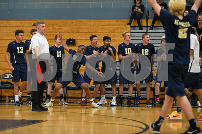 060617 Wesley Bunnell | Staff  Newington boys volleyball defeated Joel Barlow at Kennedy High School in Waterbury in a semi final game to advance to the championship game to be played on June 8. Louis Egbuna (8) celebrates a point with teammates.