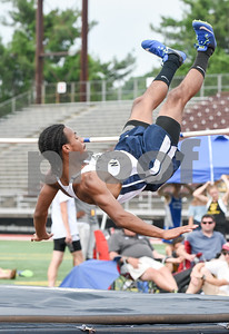 061317  Wesley Bunnell | Staff  The CIAC Decathlon, Heptathlon, Hammer Throw & Steeplechase Championships took place Monday & Tuesday at Veteran's Stadium in New Britain. Greston Walwin competes for Newington in the boys high jump.