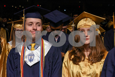 062017  Wesley Bunnell | Staff  Newington High School held their 2017 commencement at the Oakdale Theatre on Tuesday evening. Students stand jus after arriving into the seating area of the theatre.