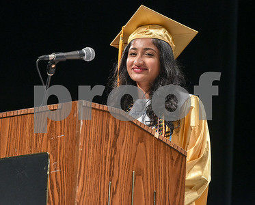 062017  Wesley Bunnell | Staff  Newington High School held their 2017 commencement at the Oakdale Theatre on Tuesday evening. Class Salutatorian Ariya Jacob.