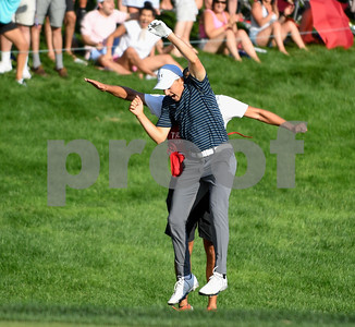 062517  Wesley Bunnell | Staff  Action from final day of the Travelers Championship on Sunday. Jordan Spieth would go on to hole out from the bunker on the first playoff hole against Dustin Berger to win the 2017 Travelers Championship. Jordan Spieth jumps and chest and back bumped his caddie after his shot from the sand trap to win the championship.