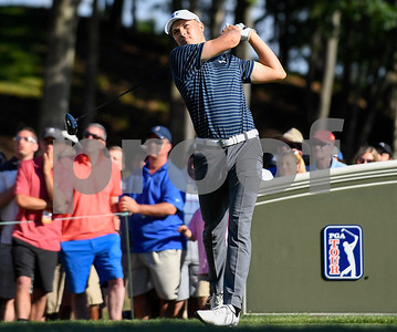 062517  Wesley Bunnell | Staff  Action from final day of the Travelers Championship on Sunday. Jordan Spieth would go on to hole out from the bunker on the first playoff hole against Dustin Berger to win the 2017 Travelers Championship. Jordan Spieth tees off from the 18th tee.