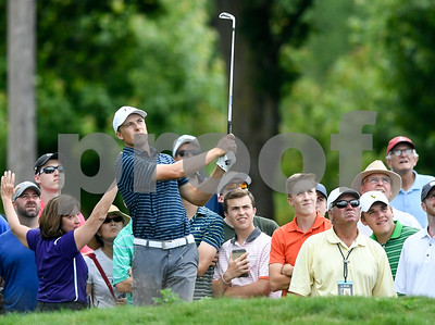 062517  Wesley Bunnell | Staff  Action from final day of the Travelers Championship on Sunday. Jordan Spieth would go on to hole out from the bunker on the first playoff hole against Dustin Berger to win the 2017 Travelers Championship. Justin Spieth hitting from the rough on the front 9.