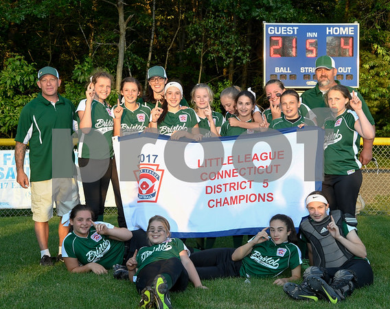 062617 Wesley Bunnell   Staff Bristol defeated Berlin on Monday evening in Plainville to claim the Little Leage District 5 Softball Championship.