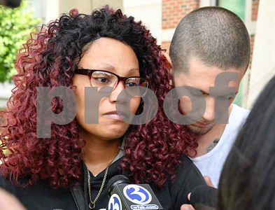 062617  Wesley Bunnell | Staff  Natalie Torres was arraigned in New Britain Superior Court on Monday related to her accident this past Sunday with 15 year old Jose Alejandro while he was riding his bike. Torres is accused of driving under the influence. Alejandro's mother Precious Pabon is comforted by Alejandro's step father Travis Comier.