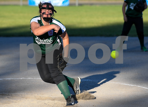 062617 Wesley Bunnell   Staff Bristol defeated Berlin on Monday evening in Plainville to claim the Little Leage District 5 Softball Championship. Bristol pitcher Ashley Serafin (11).