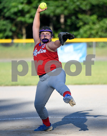 062617 Wesley Bunnell   Staff Bristol defeated Berlin on Monday evening in Plainville to claim the Little Leage District 5 Softball Championship. Berlin pitcher Hailey Wiezcorek (32).