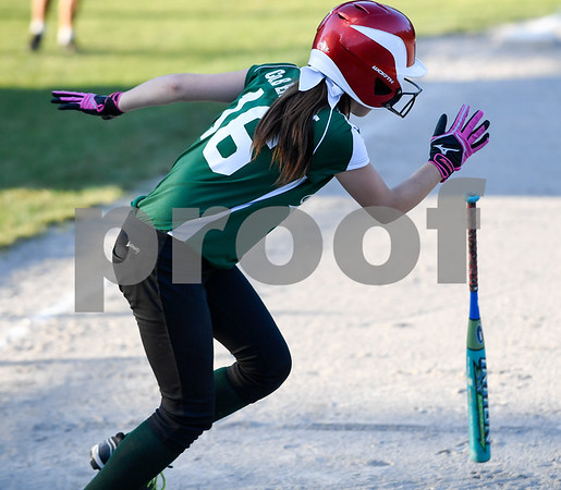 062617 Wesley Bunnell   Staff Bristol defeated Berlin on Monday evening in Plainville to claim the Little Leage District 5 Softball Championship. Bristol's Alex Shorette (16) with a base hit.