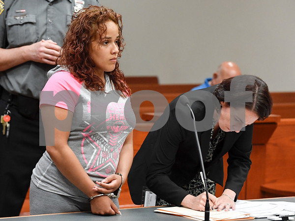 062617 Wesley Bunnell   Staff Natalie Torres, L, was arraigned in New Britain Superior Court on Monday related to her accident this past Sunday with 15 year old Jose Alejandro while he was riding his bike. Torres is accused of driving under the influence.