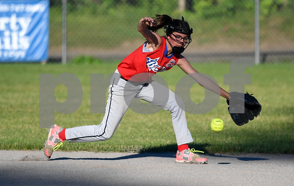 062617 Wesley Bunnell   Staff Bristol defeated Berlin on Monday evening in Plainville to claim the Little Leage District 5 Softball Championship. Bristol's Alexa Prendergast (18) makes a play at second base.