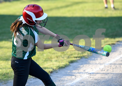 062617  Wesley Bunnell | Staff  Bristol defeated Berlin on Monday evening in Plainville to claim the Little Leage District 5 Softball Championship. Bristol's Alex Shorette (16) with a base hit.