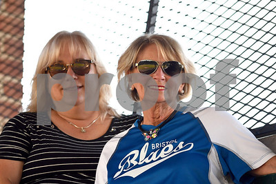 6/28/2017 Mike Orazzi | Staff Bristol Blues fans and team mom's Tammy Kelly and Mae Palmisano at Muzzy Field Wednesday evening.