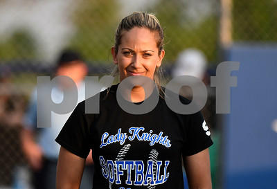 6/13/2017 Mike Orazzi | Staff Southington High School Softball Coach Davina Hernandez after Ellen Scafariello  (9) hit a  home run during the Class LL Softball final with Trumbull at West Haven High School Saturday night.