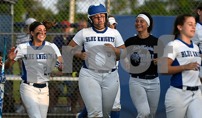 6/13/2017 Mike Orazzi | Staff Southington High School Softball Ellen Scafariello  (9) after she hit a home run during the Class LL Softball final with Trumbull at West Haven High School Saturday night.