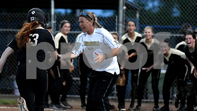 6/10/2017 Mike Orazzi | Staff Trumbull Softball Coach Jacqui Sheftz after Taylor Brown's home run during the Class LL softball final with Southington at West Haven High School Saturday night.