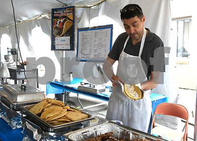 6/16/2017 Mike Orazzi | Staff Niko Giannopoulos prepares a Gyro during the 34th Annual Greek Festival Zorba 2017 at St. Demetrios Greek Orthodox Church in Bristol Friday.