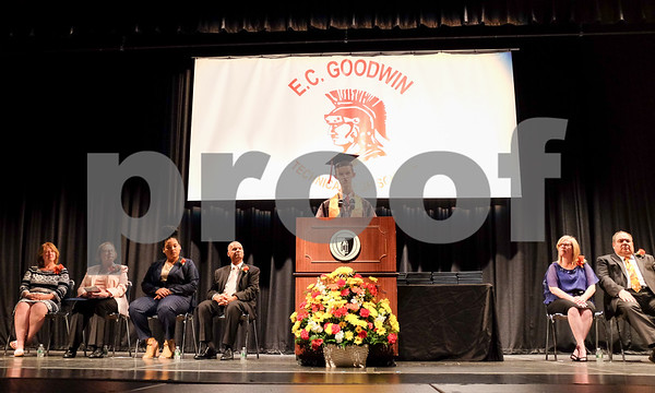 061617 Wesley Bunnell | Staff E.C. Goodwin Technical High School held their commencement ceremony on Friday evening at CCSU's Welte Hall. Valedictorian Adrian Charubin.
