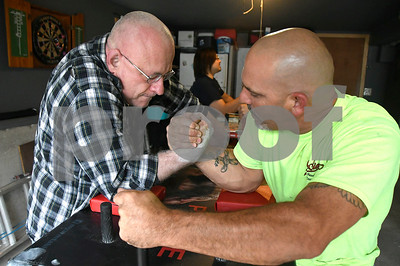 6/16/2017 Mike Orazzi | Staff Ron Ermini (right) and Bob Paradis while practicing arm wrestling in Southington Friday.