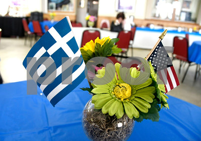 6/16/2017 Mike Orazzi | Staff Table decorations during the 34th Annual Greek Festival Zorba 2017 at St. Demetrios Greek Orthodox Church in Bristol Friday.