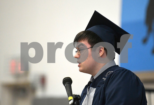 6/20/2017 Mike Orazzi | Staff Bristol Technical Education Center graduate Corey Wilson gives the student address during Tuesday's ceremony held at the Bristol Boys & Girls Club in Bristol.