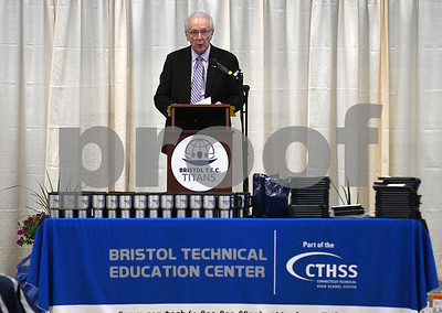 6/20/2017 Mike Orazzi | Staff Crowley Auto Group's Ken Crowley while giving the keynote address during the Bristol Technical Education Center's ceremony held at the Bristol Boys & Girls Club in Bristol.