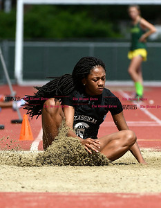 6/1/2017 Mike Orazzi | Staff Classical Magnet's Ivori-Gem Johnson in the long jump during the Class S Outdoor track meet in New Britain Thursday at Willow Brook Park.