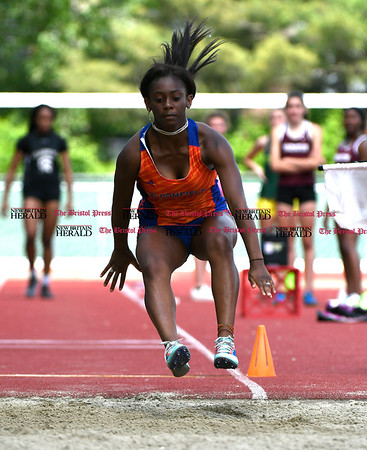 6/1/2017 Mike Orazzi | Staff Bloomfield's Morgan Clarke in the long jump during the Class S Outdoor track meet in New Britain Thursday at Willow Brook Park.