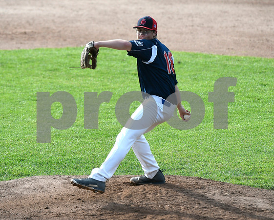 6/22/2017 Mike Orazzi | Staff Southington American Legion's Connor McDonough (18) on the mound at Muzzy Field in Bristol Thursday night.