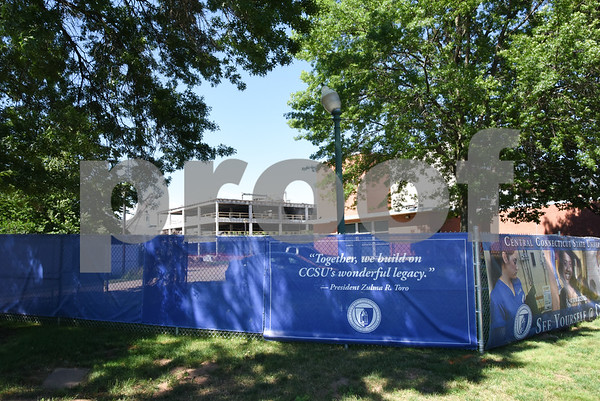 062217 Wesley Bunnell | Staff Construction continues on the $62M Willard & DiLoreto project at CCSU on Thursday afternoon. DiLoreto Hall is shown from Stanley St.