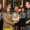 062317  Wesley Bunnell | Staff<br /> <br /> Alvarium Beer Company held a ribbon cutting on Friday and became the first brewery open in New Britain since the mid 1950's.  Mayor Erin Stewart is presented with her own Alvarium Beer sign from Alvarium co-founder Mike Larson, R.