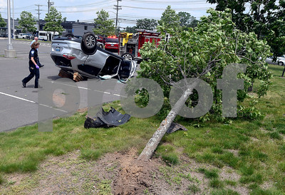 6/23/2017 Mike Orazzi   Staff The scene of a single car rollover crash in the Lake Avenue commuter lot in Bristol Friday afternoon. Firefighters extricated the driver with minor injuries.