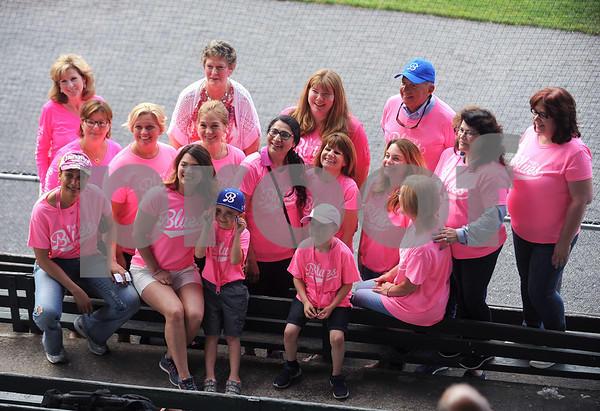 6/23/2017 Mike Orazzi | Staff Participants in the Bristol Hospital Pink Night during Friday night's Bristol Blues game at Muzzy Field.