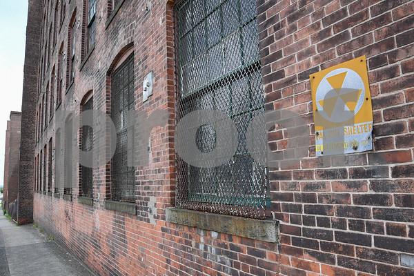 062917 Wesley Bunnell | Staff Stanley Black & Decker buildings marked for demolition near Curtis & Myrtle Streets.