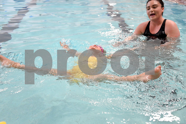 062917 Wesley Bunnell | Staff Leah Borselle, age 4, has been taking swimming lessons for about one year from instructor Ashley Jordan at the New Britain-Berlin YMCA on Thursday afternoon.