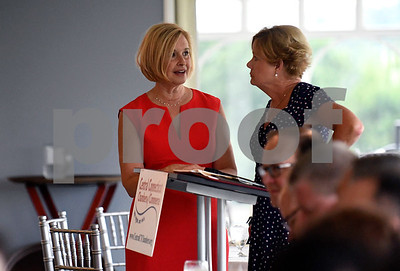 6/29/2017 Mike Orazzi | Staff Joyce Lukasewski talks with Cindy Scoville during the Central Connecticut Chambers of Commerce State of the City & Towns Breakfast held at the Chippanee Country Club Thursday morning.