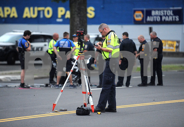 6/15/2017 Mike Orazzi | Staff Bristol Police while investigating a motorcycle vs crash on Memorial Blvd. Thursday evening. The operator of the motorcycle was transported to Hartford Hospital with serious injuries.