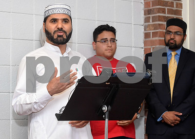 063017  Wesley Bunnell | Staff  Area Muslim leaders and local officials held a press conference Friday at noon in solidarity after a possible hate crime occurred on Arch St in New Britain this past Wednesday. Imam Ibrahaim Alsuraimi speaks to those in attendance.