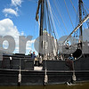 060717 Wesley Bunnell | Staff<br /> <br /> A replica of the ship used by Christopher Columbus the Pinta passes the Nina as she prepares to dock on the riverfront in Hartford on Wednesday afternoon.