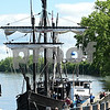 060717 Wesley Bunnell | Staff<br /> <br /> Colt's Blue Onion Dome can be seen through the rigging of a replica of Christopher Columbus's the Nina as she sits at dock in Hartford on Wednesday afternoon.