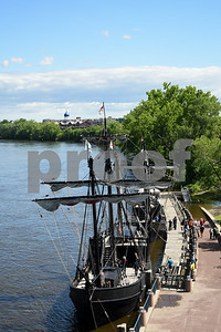 060717 Wesley Bunnell | Staff  Colt's Blue Onion Dome can be seen in the background as replicas of Christopher Columbus's the Nina and Pinta sit at dock in Hartford on Wednesday afternoon.
