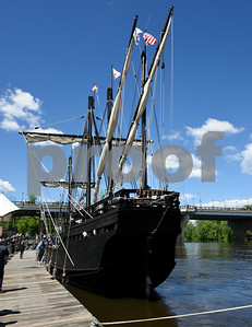 060717 Wesley Bunnell | Staff  A replica of the ship Nina as used by Christopher Columbus docks on the riverfront in Hartford on Wednesday afternoon. The Founders Bridge is in the background.