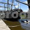 060717 Wesley Bunnell | Staff<br /> <br /> A replica of the ship used by Christopher Columbus the Pinta prepares to dock just ahead of the Nina on the riverfront in Hartford on Wednesday afternoon.