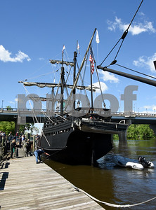 060717 Wesley Bunnell | Staff  A replica of the ship used by Christopher Columbus the Pinta at dock on the riverfront in Hartford on Wednesday afternoon with the Founders Bridge in the background.