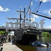 060717 Wesley Bunnell | Staff<br /> <br /> A replica of the ship used by Christopher Columbus the Pinta at dock on the riverfront in Hartford on Wednesday afternoon with the Founders Bridge in the background.