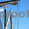 060717 Wesley Bunnell | Staff<br /> <br /> Flags fly in the rigging of a replica of Christopher Columbus's ship the Nina as she sits at dock on the riverfront in Hartford on Wednesday afternoon.