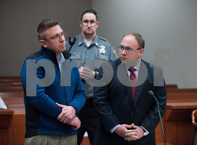 060817 Wesley Bunnell | Staff  Robert Bryant, L, stands with his Attorney Jason W. Messina in New Britain Superior Court on Thursday afternoon.