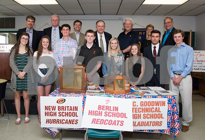 060817 Wesley Bunnell   Staff  The New Britain/Berlin Rotary Club held an awards luncheon on Thursday afternoon honoring high school golfers from both boys and girls teams from New Britain, Berlin and the boys team from EC Goodwin. The 54th Annual Stan Pisk Memorial High School Golf Championship was previously held on Tuesday May 30. Coaches and players from New Britain, Berlin and EC Goodwin's boys and girls golf teams pose with the championship trophies along with New Britain Superintendent of Schools Nancy Sarra, back row 2nd from right. Ted Pisk, son of the late Stan Pisk, is shown back row middle.